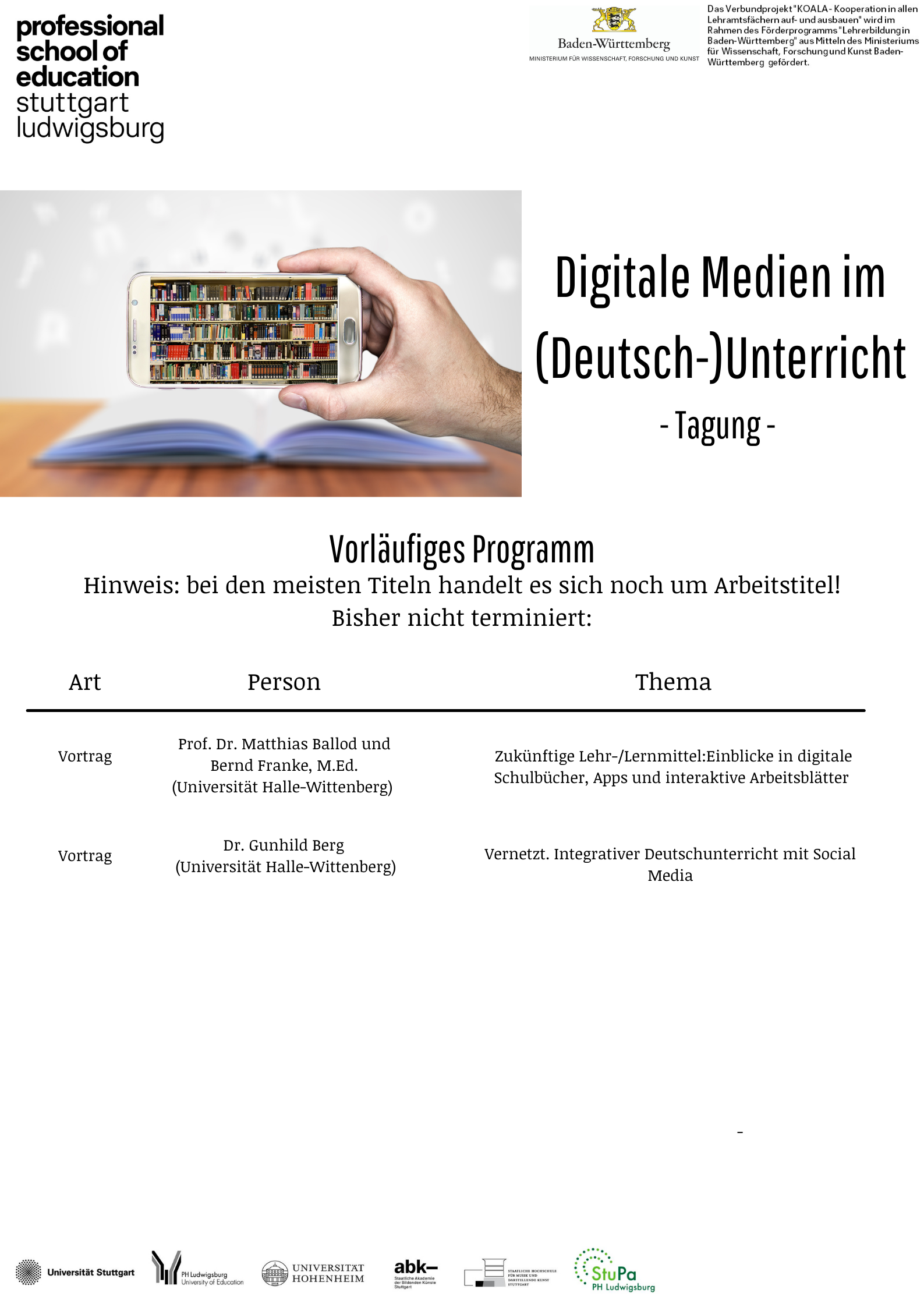 Tagung - Digitale Medien im (Deutsch-)Unterricht